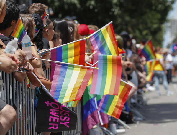 """People celebrate the 48th annual Gay and Lesbian Pride Parade in June in Chicago. Activists say they hope the Illinois law banning the """"gay panic"""" defense will lead to similar measures in other states."""