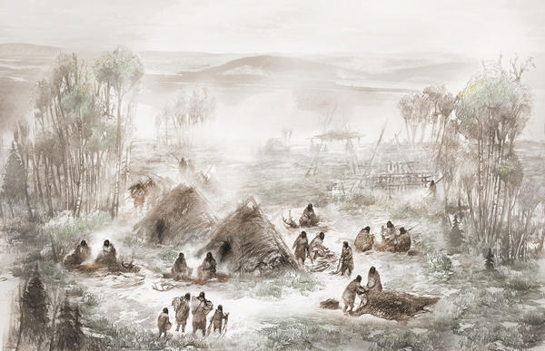 Here's what archaeologists think the Upward Sun River camp in what is now central Alaska looked like 11,500 years ago.