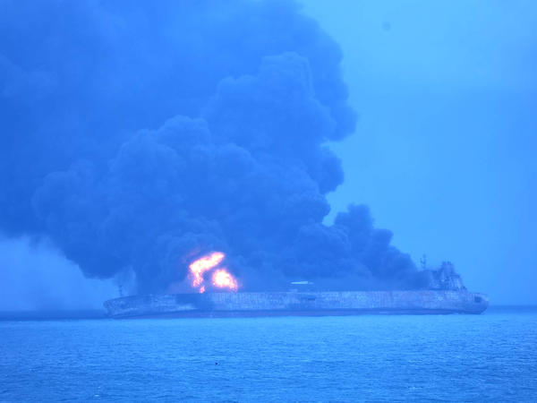 The Iranian oil tanker Sanchi was ablaze Sunday after a collision with a freighter off China's east coast. One crew member is dead and 31 are missing, as rescue efforts are hampered by bad weather and the fire.