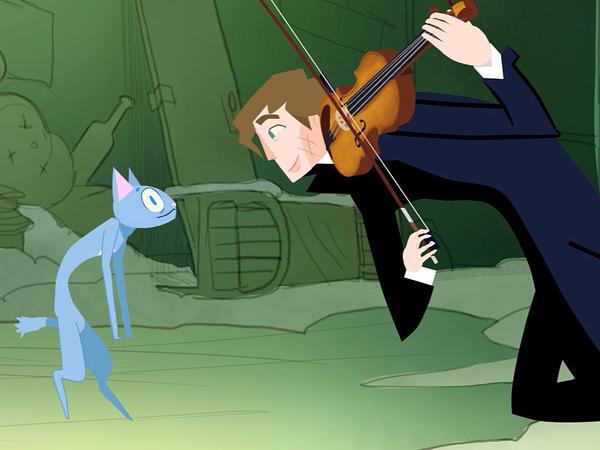 In the animated short <em>Fantasia Dei Gatti</em>, violinist Augustin Hadelich serenades a few alley cats.