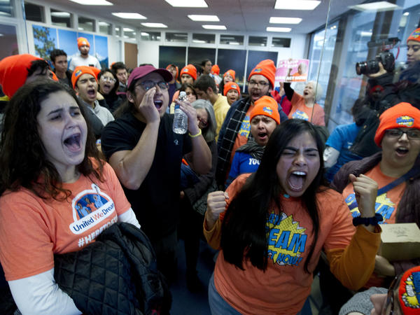 Demonstrators protest at Sen. Dean Heller's, R-Nev., office in support of the Deferred Action for Childhood Arrivals (DACA), and Temporary Protected Status (TPS), programs on Capitol Hill on Tuesday.