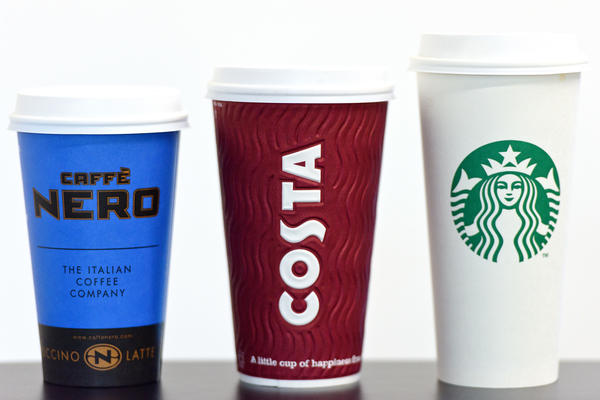 A grande Cafe Nero, large Costa Coffee and venti-sized Starbucks to-go cups sold in London. The U.K. Parliament is considering a tax on disposable cups in an effort to cut down on waste.