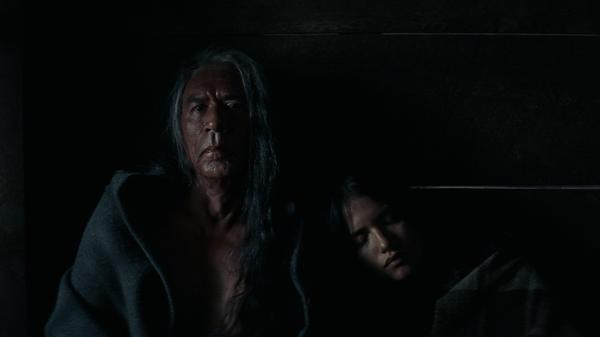 Wes Studi plays Chief Yellow Hawk in <em>Hostiles</em>. (Also pictured: Tanaya Beatty)