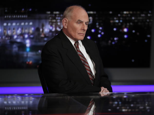 White House chief of staff John Kelly pauses to look to a video monitor as he appears on Special Report with Bret Baier on Fox News in Washington, on Wednesday.