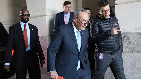 Senate Minority Leader Chuck Schumer, D-N.Y., returns to the U.S. Capitol after meeting with President Trump at the White House on Friday afternoon.