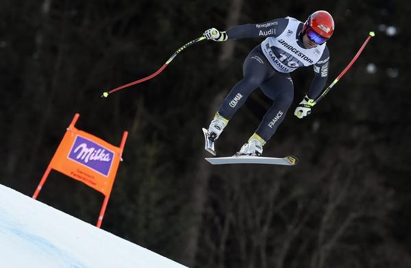 France's David Poisson competes during an alpine ski, men's World Cup downhill race, in Garmisch-Panterkirchen, Germany, Saturday, Jan. 28, 2017. Poisson died in November 2017 during training at Nakiska in Canada. (Marco Tacca/AP)