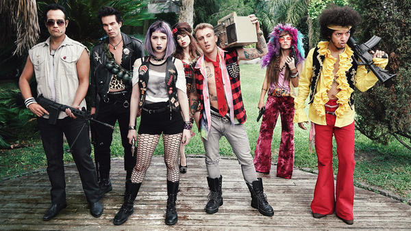 <em>27: El Club De Los Malditos</em> takes place in an alternate universe populated with persuasive look- and sound-alikes of famous musicians. (Left to right: Andres Bagg, William Prociuk, Sofía Gala Castiglione, Mariu Fernández, El Polaco, Vicky Maurette and Sadrak Jeremy)