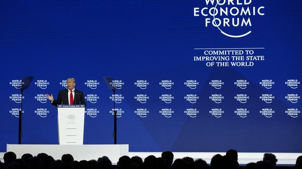 President Donald Trump speaks at the World Economic Forum on Friday.