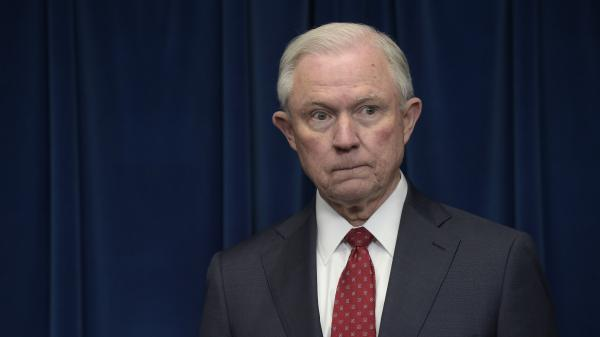 Attorney General Jeff Sessions waits to make a statement at the U.S. Customs and Border Protection office in Washington in March 2017, days after recusing himself from the Justice Department's Russia investigation.