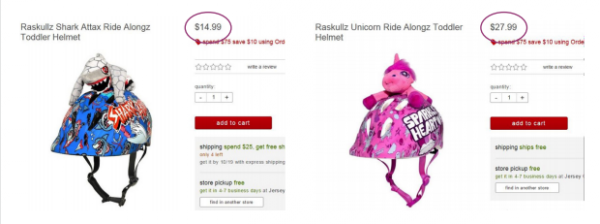 A 2015 study by the New York Department of Consumer Affairs found that female-oriented versions of various products were priced higher than those geared toward males. This example cited in the department's study compared children's helmets sold at Target.