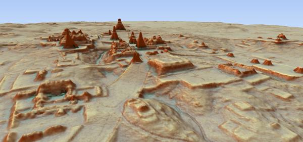 A 3D view of Tikal, the major Maya city.