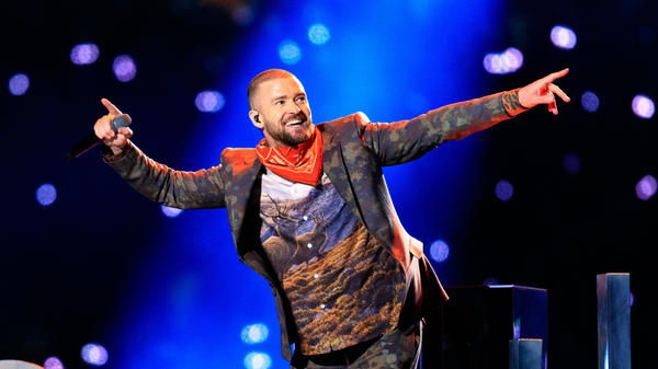 Justin Timberlake performs during the Super Bowl LII halftime show on Feb. 4, 2018.