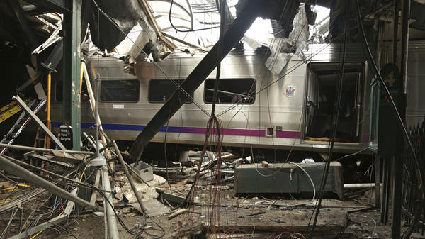 Damage done to the Hoboken Terminal in New Jersey after a commuter train crash in September 2016. Federal investigators attribute this accident and one in New York to engineers' untreated sleep apnea.