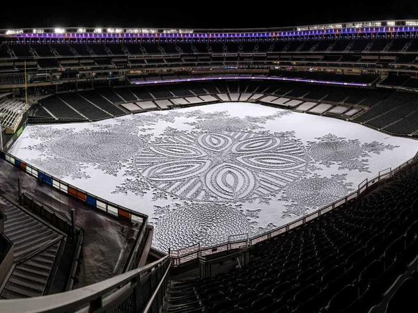 Simon Beck's snow art at Target Field in Minneapolis.