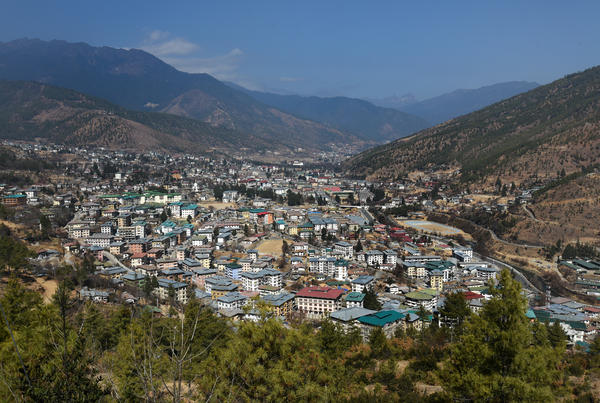 The Valley of Thimphu, Bhutan, where archery tournaments are regularly staged.