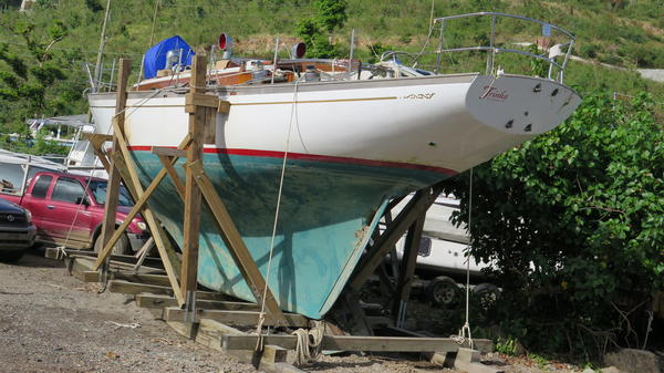 Thatcher Lord built the wooden cradle he used to haul his 41-foot sailboat out of the water after it sank in a protected cove, Hurricane Hole.