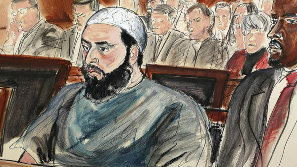 A courtroom drawing of Ahmad Khan Rahimi Tuesday when he was sentenced to life in prison.