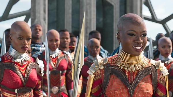 L-R: Florence Kasumba as Ayo and Danai Gurira as Okoye in <em>Black Panther</em>.