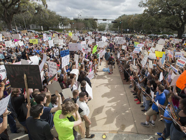 Students gather on the steps of the old Florida Capitol in Tallahassee, Fla., protesting for stricter gun laws on Wednesday. Students at schools across Broward and Miami-Dade counties in South Florida also planned short walkouts in support.