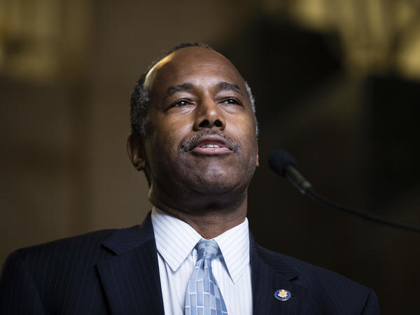 """Housing and Urban Development Secretary Ben Carson in September. A former HUD employee says she was demoted after refusing to comply with a request from the acting agency head that she """"find money"""" to bankroll costly remodeling for Carson's office."""