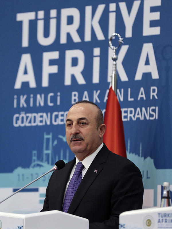 Turkish Foreign Minister Mevlüt Cavusoglu speaks during a Turkey-Africa conference in Istanbul, on Feb. 12.