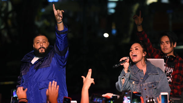 Demi Lovato and DJ Khaled appear at The Grove in Los Angeles in Nov. 2017.