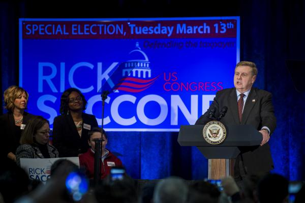 Republican congressional candidate Rick Saccone speaks during a campaign event on February 2, 2018, in Bethel Park, Pa.