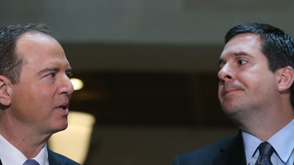 House intelligence committee Chairman Devin Nunes, R-Calif., (right), and Ranking Member Adam Schiff, D-Calif., speak to the media about committee's investigation into Russian interference in the U.S. presidential election, a year ago on March 15, 2017, in Washington, D.C.
