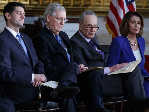 Speaker of the House Paul Ryan, Senate Majority Leader Mitch McConnell, Senate Minority Leader Chuck Schumer, and House Minority Leader Nancy Pelosi, at a Congressional Gold Medal ceremony in January.