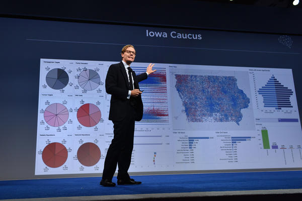 Alexander Nix, the currently suspended CEO of Cambridge Analytica, speaks at a 2016 event in New York City. Nix and his firm are accused of misusing the personal data of 50 million people as part of their political consulting work, which included President Trump's 2016 campaign.