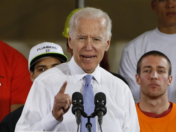 """Former Vice President Joe Biden got into a verbal tussle with President Trump over who would win a fight, just before announcing a three-part """"Plan To Put Work-and Workers-First."""""""
