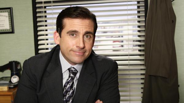 Steve Carrell as Michael Scott on the set of <em>The Office</em> in 2008.