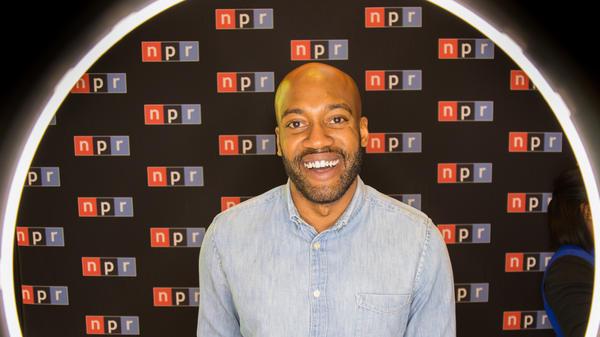 <strong><em></em></strong><em></em>Sam Sanders at his live show held in Studio One at NPR HQ.