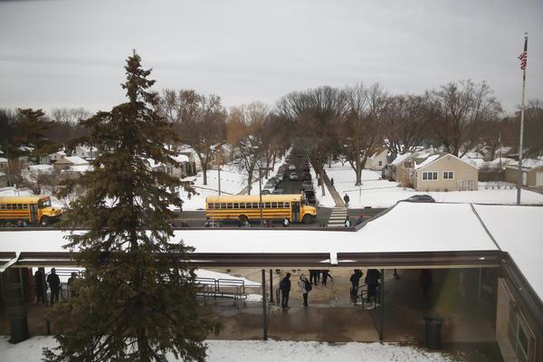 Dismissal at St. Louis Park High School in suburban Minneapolis.