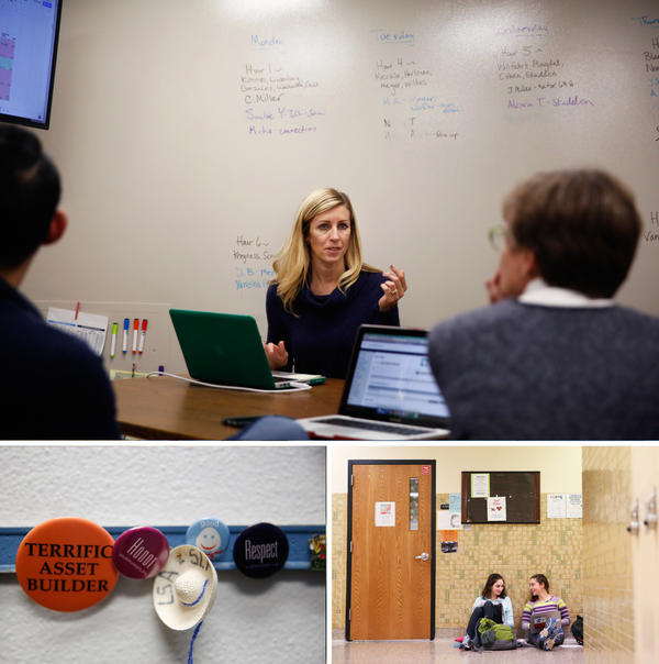 Top: Kelly Brown, the BARR coordinator at St. Louis Park, meets with counselors and teachers. Bottom left: Pins in Brown's office. Bottom right: Students work in the hallway.