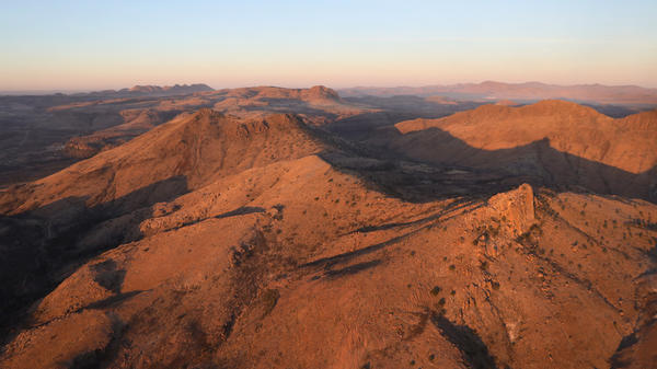 Rugged terrain stretches through the area near Van Horn, Texas.