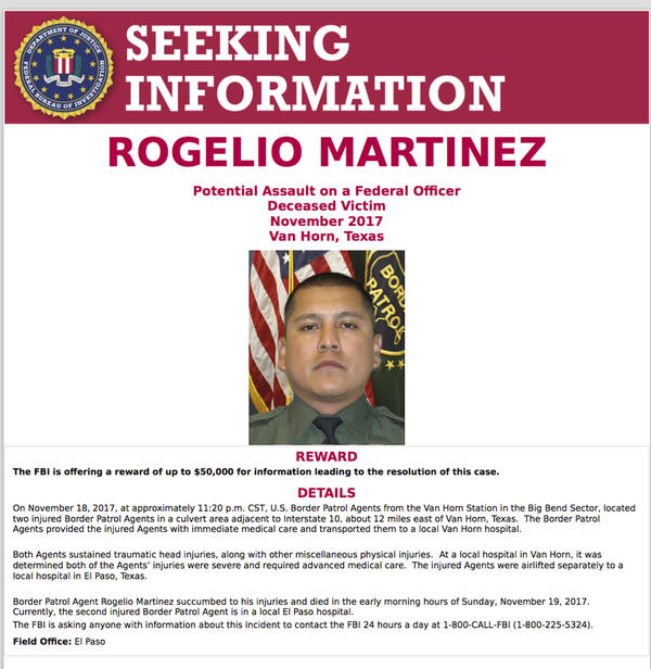 Through signs and billboards, the FBI sought information in the death of U.S. Customs and Border Protection Agent Rogelio Martinez.