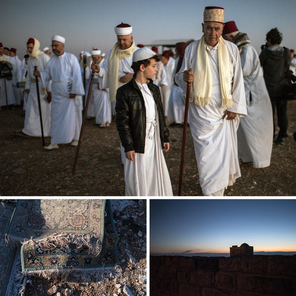 (Top) Samaritans gather for a sunrise pilgrimage to celebrate the Festival of Tabernacles. (Left) Carpets were placed on the mountain during the pilgrimage. (Right) Ruins on top of Mount Gerizim, just before sunrise.