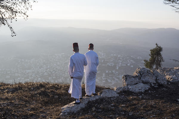 Young Samaritans stand on top of Mount Gerizim after the sunrise pilgrimage. The Samaritan community used to number more than 1 million; today, according to last official count, there are only roughly 800 left.