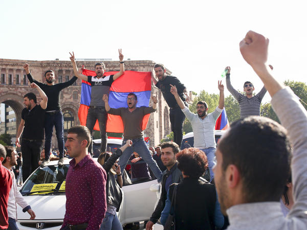Protesters on Monday celebrated Armenian Prime Minister Serzh Sargsyan's resignation in the capital, Yerevan. The former president announced he would resign after massive anti-government rallies shook the country.