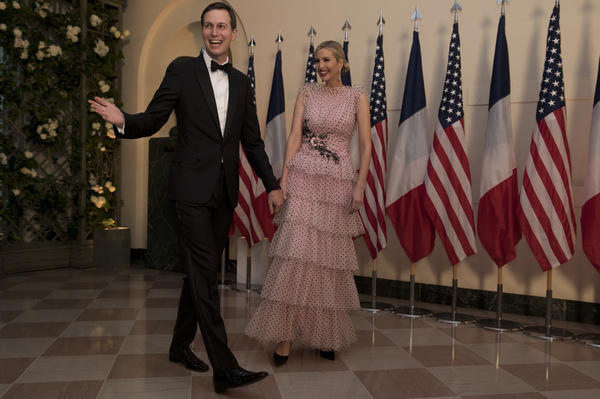 "Jared Kushner and Ivanka Trump, introduced for the evening as ""The Honorable Ivanka Trump,"" arrive at the White House for the state dinner."