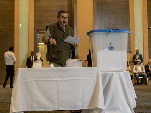 """Hoshyar Zebari, former foreign minister of Iraq, casts his Kurdish independence referendum vote on Sept. 25, 2017, in Irbil. Zebari describes Iraq today as """"broken."""" But he believes there is still a chance of fulfilling the promise and the possibilities many envisioned for postwar Iraq."""