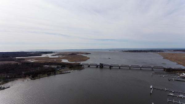 The mouth of the Connecticut River at Old Saybrook and Old Lyme, Connecticut, on April 13, 2017. The Amtrak bridge is the last crossing before the river meets Long Island Sound.