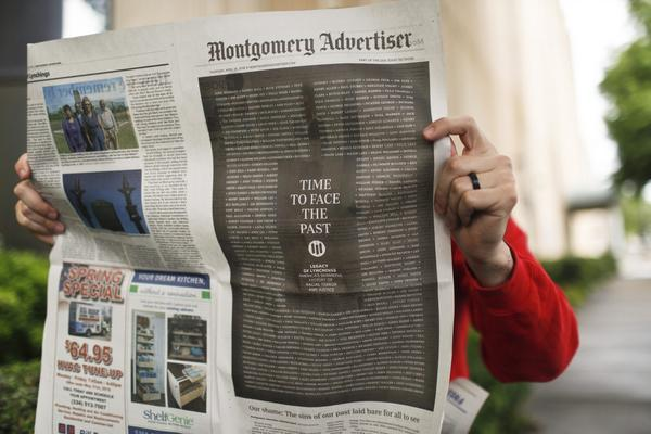 """The Montgomery Advertiser published a front-page apology for its """"shameful"""" coverage of mob violence against African-Americans on Thursday as the first national memorial to lynching victims opened in the city. (Brynn Anderson/AP)"""