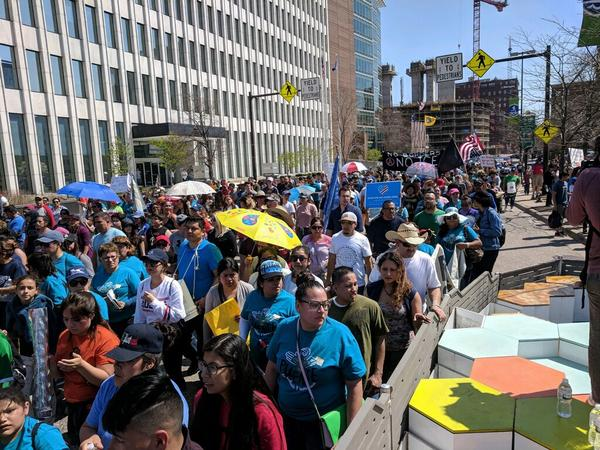 Immigrants and supporters went on strike in Grand Rapids Tuesday.