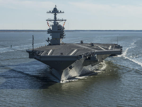 The nuclear-powered USS Gerald R. Ford undergoing sea trials last July off the coast of Virginia. The Ford is the first in the Navy's new class of aircraft carrier.