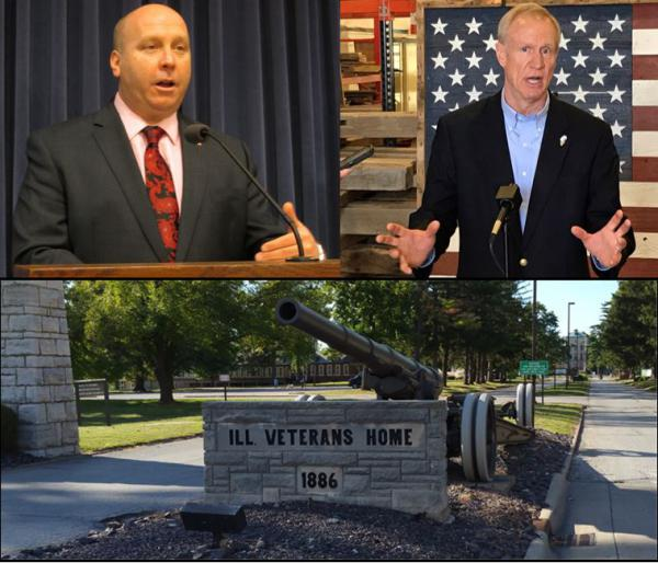 Sen. Tom Cullerton (D, Villa Park) and Gov. Bruce Rauner have clashed over the handling of the Quincy Home outbreak. Below, the front gates of the home.