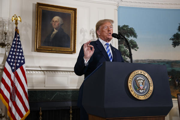 """The fact is this was a horrible one-sided deal that should have never, ever have been made,"" President Trump said Tuesday from the Diplomatic Reception Room of the White House."