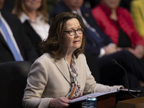 Haspel testifies at a Senate Intelligence Committee hearing Wednesday.