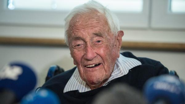 Australian scientist David Goodall attends a press conference on Wednesday on the eve of his assisted suicide in Basel.
